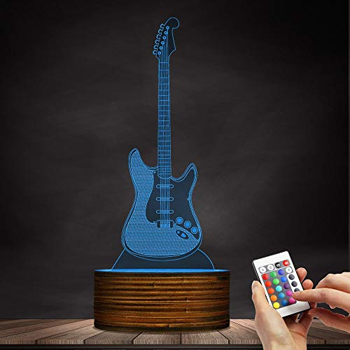 Novelty Lamp, 3D LED Lamp Optical Illusion Guitar Night Light, USB Powered Remote Control Changes The Color of The Light, Children's Friends Birthday Party, Ambient Light by LIX-XYD (Image #3)