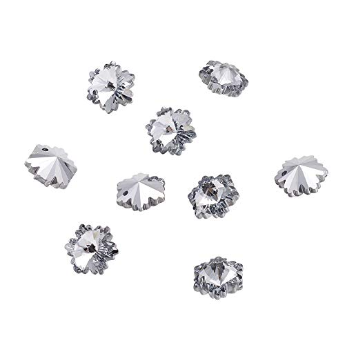 Craftdady 100PCS Silver Back Plated Faceted Christmas Snowflake Electroplate Glass Pendants Charms Loose Bead for Bracelets Necklace Jewelry Making Findings