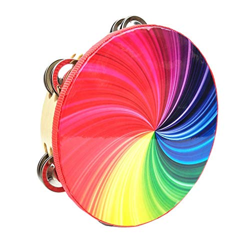 Sanmubo Orff Percussion Instrument 8 inch Double Row Colorful Tambourine Rainbow Tambourine Hand Drums Double Row Jingles for Adults and Kids