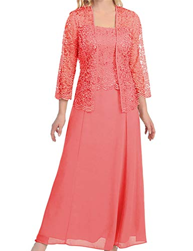 Mother The Bride Dress Lace Mother Dress Long Formal Gown Jacket Peach 22W