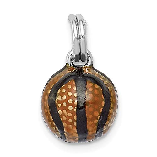 - 925 Sterling Silver Rhodium-plated 3D Enamel Basketball Sports Charm