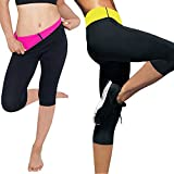 Womens Slimming Pants Hot Thermo Neoprene Sweat Suit Sauna Leggings (Black&Rose Red, XL) review