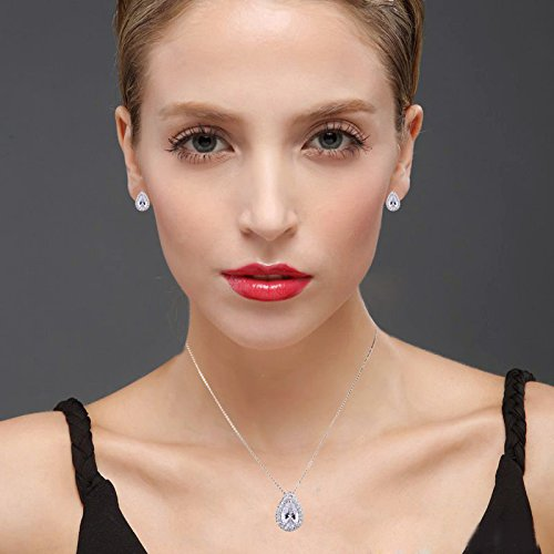 AMYJANE Wedding Jewelry Set for Bridesmaids - Sterling Silver Teardrop Cubic Zirconia Halo Earrings and Pendant Necklace Clear Crystal Jewelry Set for Women by AMYJANE (Image #1)