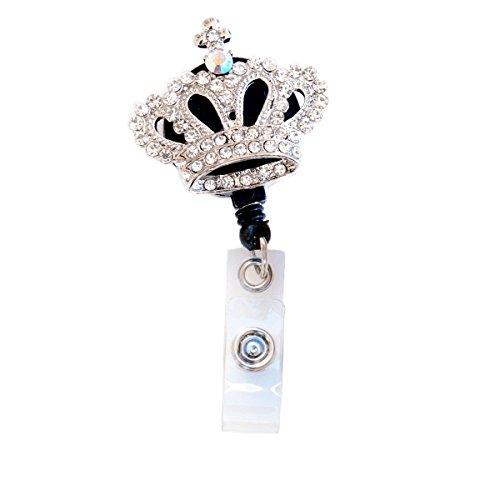 Crown Badge - 3D Clear Rhinestone Mini Crown Badge Reel Retractable ID Badge Holder