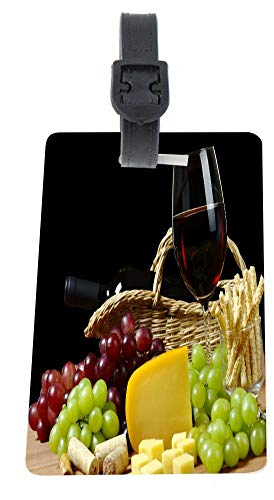 2 Plastic Luggage Identifier Tags with Strap - Cheese and Wine in Hamper