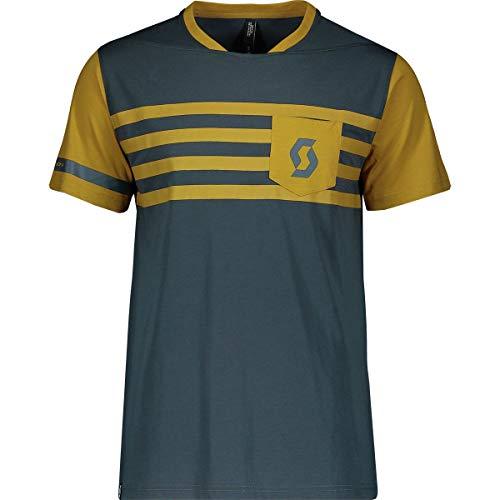Scott Trail Flow Dri Short-Sleeve Shirt - Men's Nightfall Blue/Ochre Yellow, XL - Flow Bike Jersey