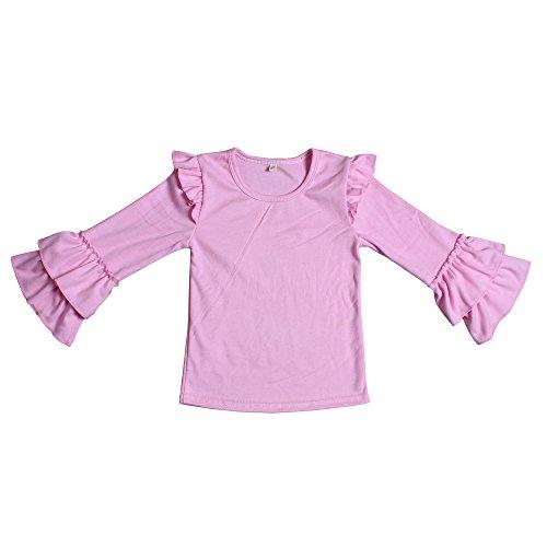 Yawoo Haan Kids Girls Ruffle Long Sleeve Cotton T-Shirts Baby Casual Tees