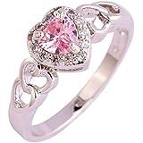 Amethyst Pink Blue White Gemstone Women AAA Silver Ring Size 6 7 8 9 10 11 12 13#by pimchanok shop (11, 724 Pink Topaz)