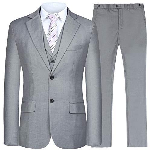Men's Suit 3 Piece Busines Classic Solid Regular Fit Blazer Coat Vest Pants Set(Deep Gray,52) Classic 3 Pack Set