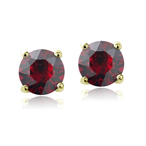 Ruby Red Flashed - Bria Lou Gold Flashed Ruby July Birthstone Color Round Stud Earrings Made with Swarovski Crystals (6mm)