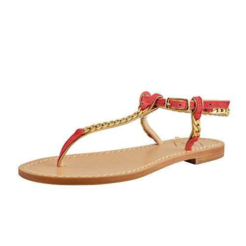 Emanuela Caruso Capri Femmes Chaîne Doré Plat Sandales Chaussures Rose