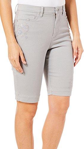 Gray Bermuda (Gloria Vanderbilt Womens Amanda Floral Bermuda Shorts 12 Grey Silk)