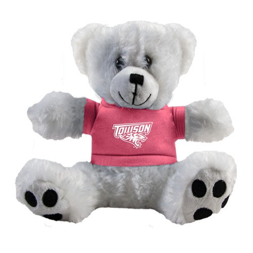 Towson Plush Big Paw 8 1/2 inch White Bear w/Pink Shirt 'Official Logo' by CollegeFanGear