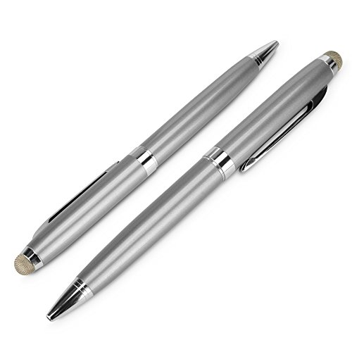 iPad Stylus Pen, BoxWave® [EverTouch Meritus Capacitive Styra] Capacitive Stylus with Rollerball Pen for Apple iPad - Metallic Silver by BoxWave