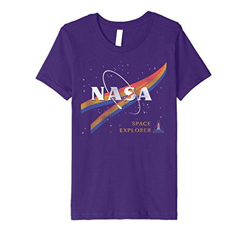 Kids NASA Retro Chevron Space Shuttle Logo Premium T-Shirt 10 Purple
