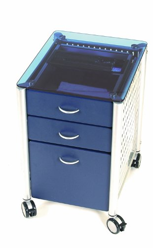 UPC 811910360036, Innovex Glass Mobile Filing Cabinet, Blue