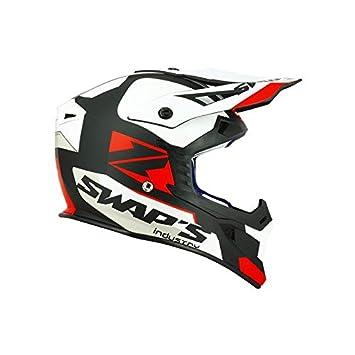 ce1899930f9082 SWAP S Casque Moto Cross Blur S818 Noir Blanc Rouge Mat - Homologué ECE R22- 05