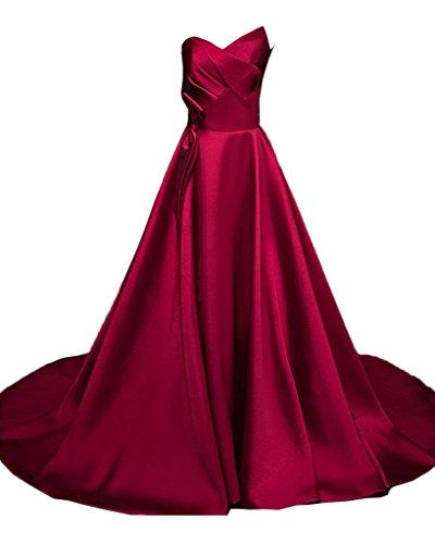Avril Robe Glamour Bustier Une Ligne Robe De Soirée En Satin Bordeaux Long Voyage En Train