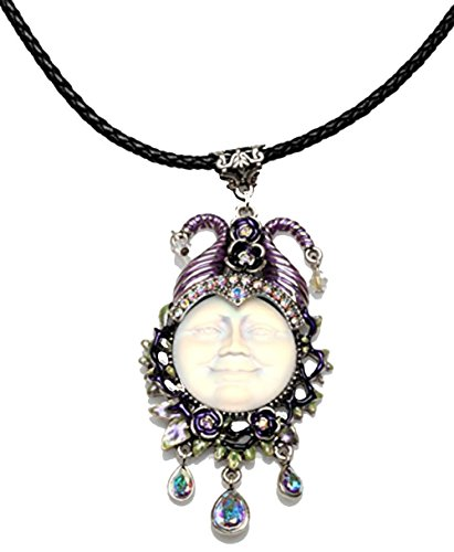 (Kirks Folly Maleficent Seaview Moon 25MM Cord Necklace silvertone / crystal ab)