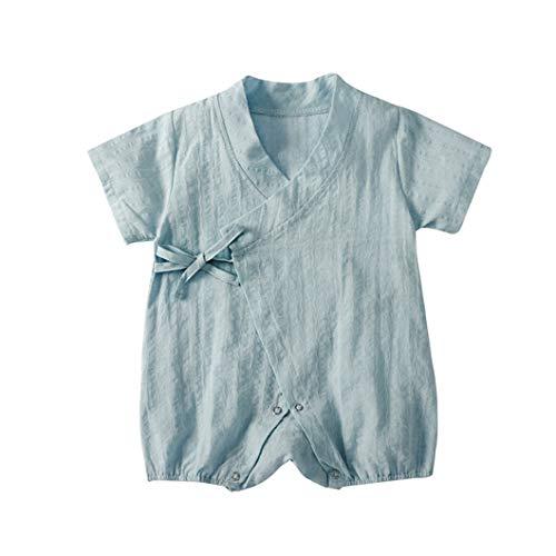 17422a095bddd ... ALLAIBB ベビー服 甚平 浴衣 半袖 前開き ロンパース カバーオール かわいい 無地 赤ちゃん 男の子 女の子 花火大会