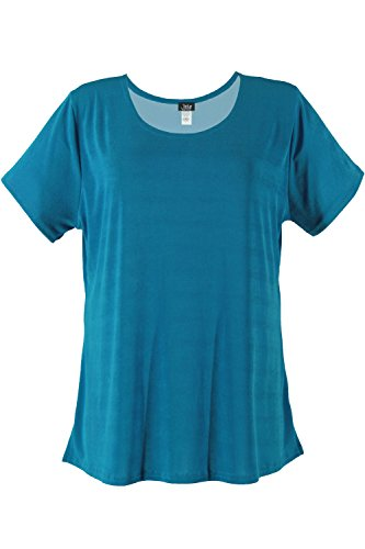 Jostar Women's Stretchy New Big Top Short Sleeve Large Turquoise