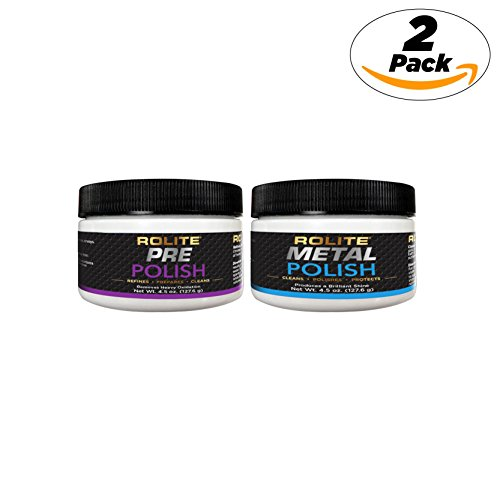 Pre Polish & Metal Polish (4.5oz) for The Ultimate Restorative Shine on All Metal Surfaces Combo Pack by Rolite