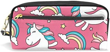 Estuche de unicornio para lápices de gran capacidad con bolsa de maquillaje con cremallera: Amazon.es: Oficina y papelería