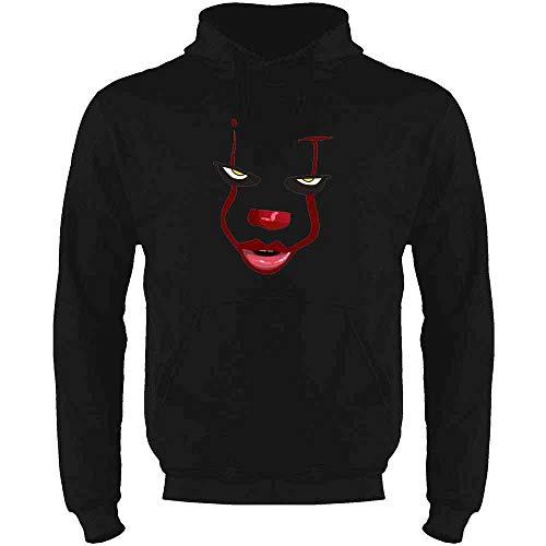 Pop Threads Clown Face Horror Halloween Scary Black M Mens Fleece Hoodie Sweatshirt -