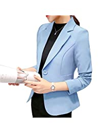 Elonglin Women's Long Sleeve Blazer Suit Jacket Lapel Collar Slim Casual Office