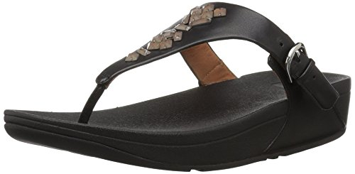 Skinny Toe Women's Leather Black The Crystal Thong fitflop Sandal 7wABxERqB