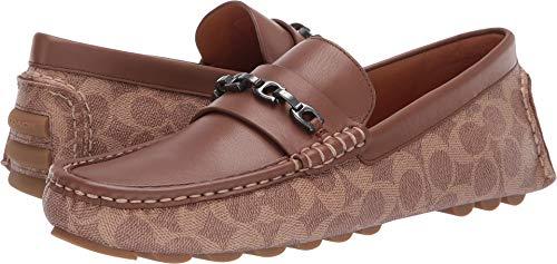 Coach Men's Mixed Material Signature Chain Driver Khaki/Saddle 9 D US (Brown Coach Shoes Men)