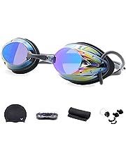 WHCREAT Conjunto de Gafas de Natación, Gafas de Natación con Lentes de Espejo Protección UV Antiniebla Sin Fugas para Hombres, Mujeres y Niños Mayores de 10