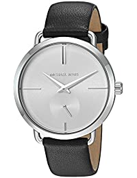 Michael Kors Women's 'Portia' Quartz Stainless Steel and Leather Casual Watch, Color:Black (Model: MK2658)