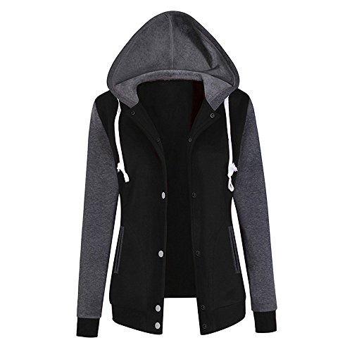 Women's Winter Hoodie Baseball Uniform Fleece Hooded Button Up Sweatshirt Jacket Coat Outwear Blouse Overalls