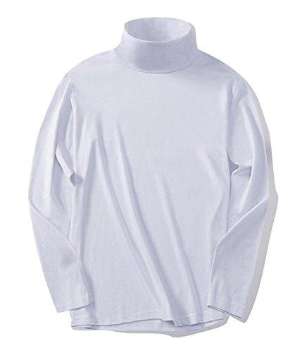 amp; W amp; 5 Lunghe M Solido Collo Top Mens Cotone A S T shirts Maniche Pullover Casuali Alto IHFHwE