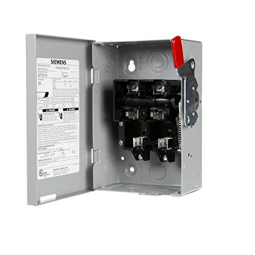 SIEMENS GF221NU Ghn321Nu Fusible General Duty Safety Switch with Neutral, 240 V, 30 A, 240 W, 1 Phase, 2 Pole, 3 W ()