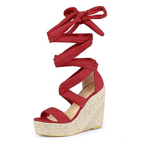 - Allegra K Women's Espadrille Platform Wedges Heel Lace Up Red Sandals - 8.5 M US