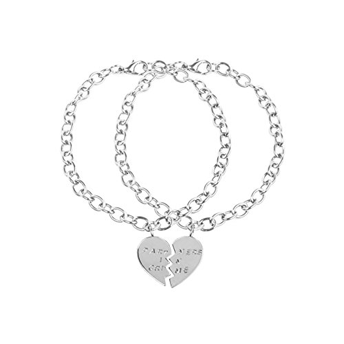 Lux Accessories Partners in Crime BFF Forever Best Friends Heart Charm Valentine Bracelets. (2 PC) (Friend Charm Heart)