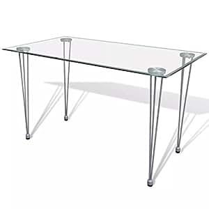 vidaXL Mesa de comedor con tablero vidrio transparente