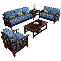 Small Apartment Chaise Corner Wooden Sofa Combination