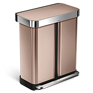simplehuman Liner Rim Rectangular Dual Compartment Recycling Step Trash Can with Liner Pocket, Rose Gold Stainless Steel, 58 Liter / 15 Gallon