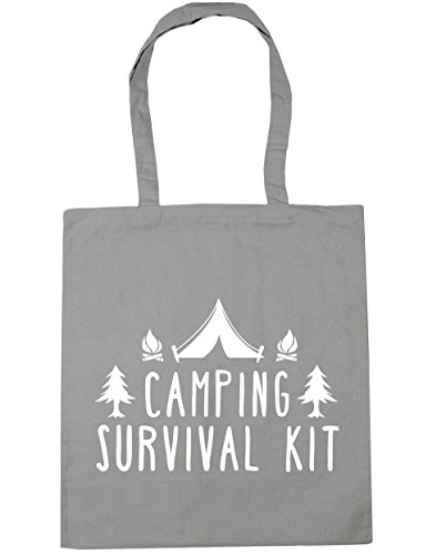 HippoWarehouse Camping Kit de supervivencia bolsa de la compra bolsa de playa 42cm x38cm, 10litros gris claro
