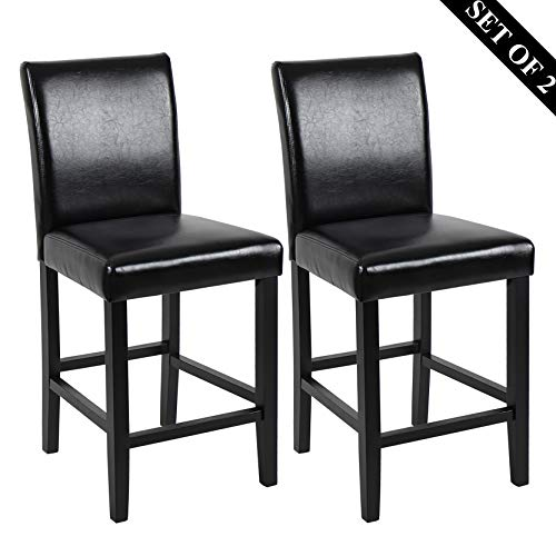 "GOTMINSI Set of 2 Classic 24"" Counter Height Stools Upholstered Bar Stools with Solid Wood Legs and Black Leather (PU Black)"