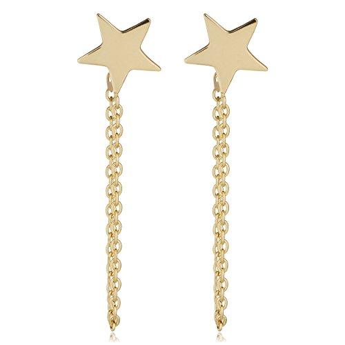 (Kooljewelry 14k Yellow Gold Draped Chain Star Earrings)