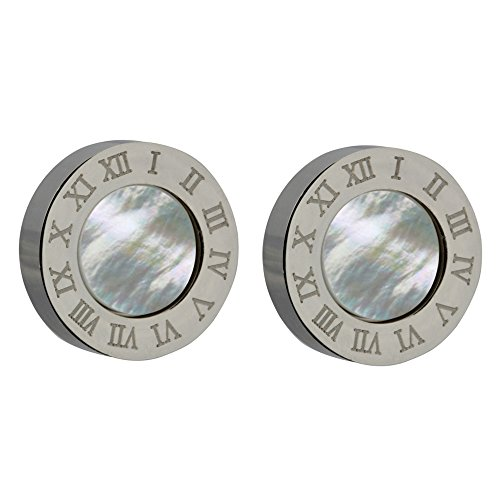 (10mm White Natural Seashell Hypoallergenic Set of Two Dangle Studs Earring Jewelry for Women or Girls 316L Stainless Steel 925 Sterling Silver Plated with a Clock Roman Numerals Letters Design)