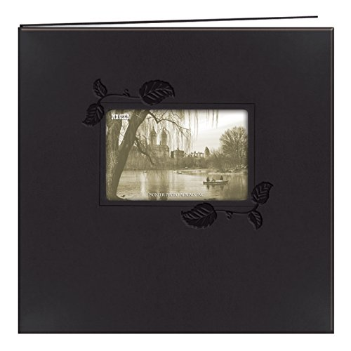 2-Inch Embossed Leatherette Postbound Memorybook with Window, Black with Ivy ()