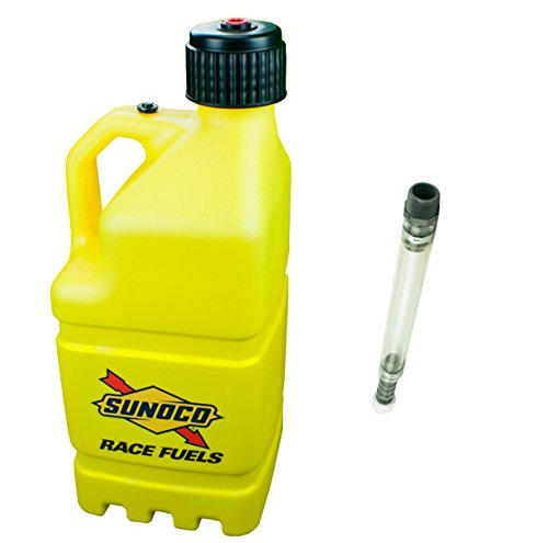 sunoco-race-fuels-5-gallon-racing-utility-jug-with-deluxe-filler-hose-kit-yellow-made-in-the-usa