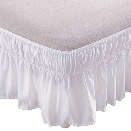 (AYASW Bed Skirt-14 Inch Drop Wrap Around Ruffled (Twin/Full,White) Brushed Microfiber 1500 Adjustable Elastic Easy Fit)