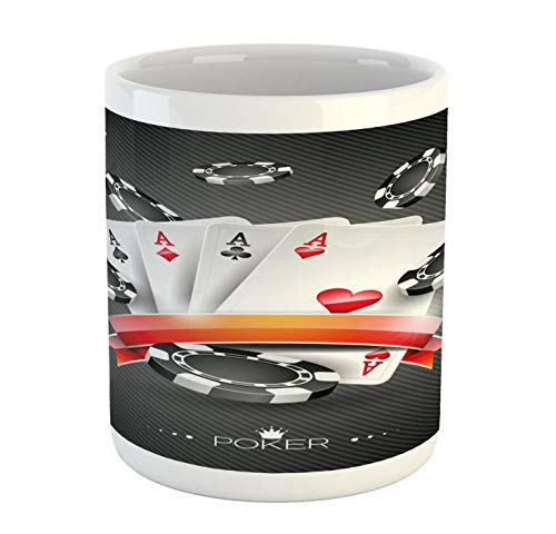 (Lunarable Poker Tournament Mug, Artistic Display of The Spread Chips with Poker Cards Lifestyle, Printed Ceramic Coffee Mug Water Tea Drinks Cup, Charcoal Grey White)