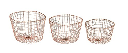 "Deco 79 49616 Metal Wire Storage Basket (Set of 3), 15""/17""/19""W - Country Of Origin: India Model Number: 49616 Package Dimension: 20.0"" L x 20.0"" W x 20.0"" H - living-room-decor, living-room, baskets-storage - 41GCI j0q8L -"